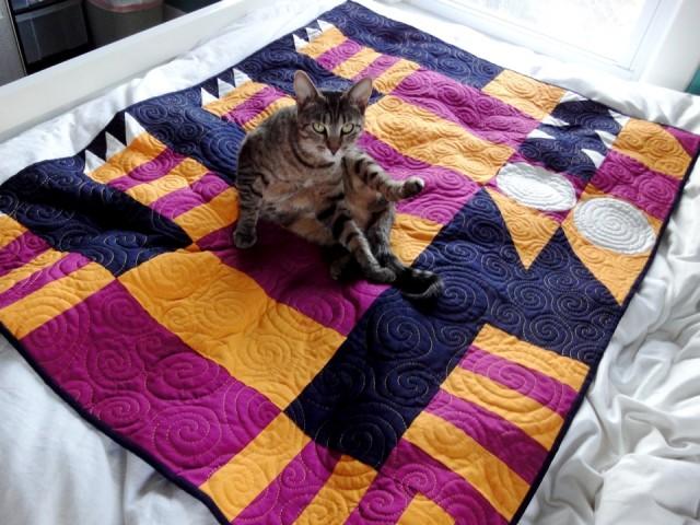 cat on cat quilt
