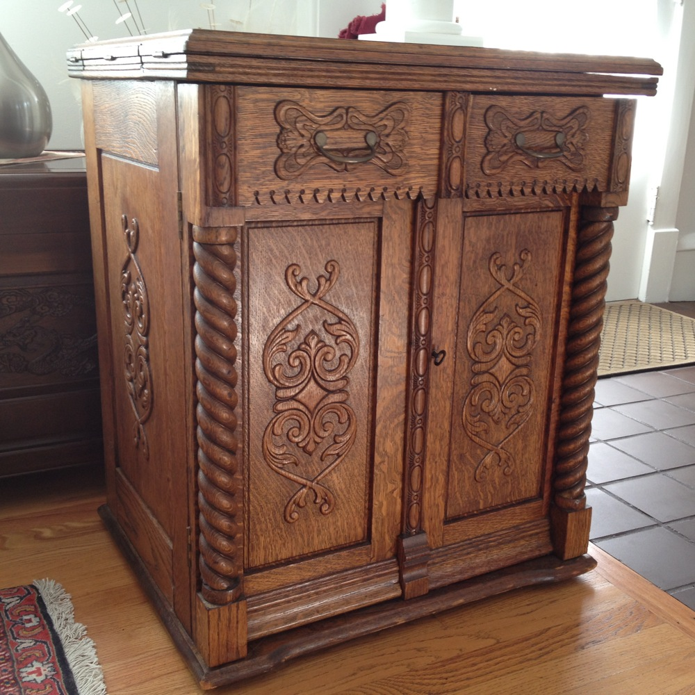 fancy Minnesota A cabinet - Crazy Sewing Machine Lady « Nina Paley's Blog - Antique Sewing Cabinet Antique Furniture