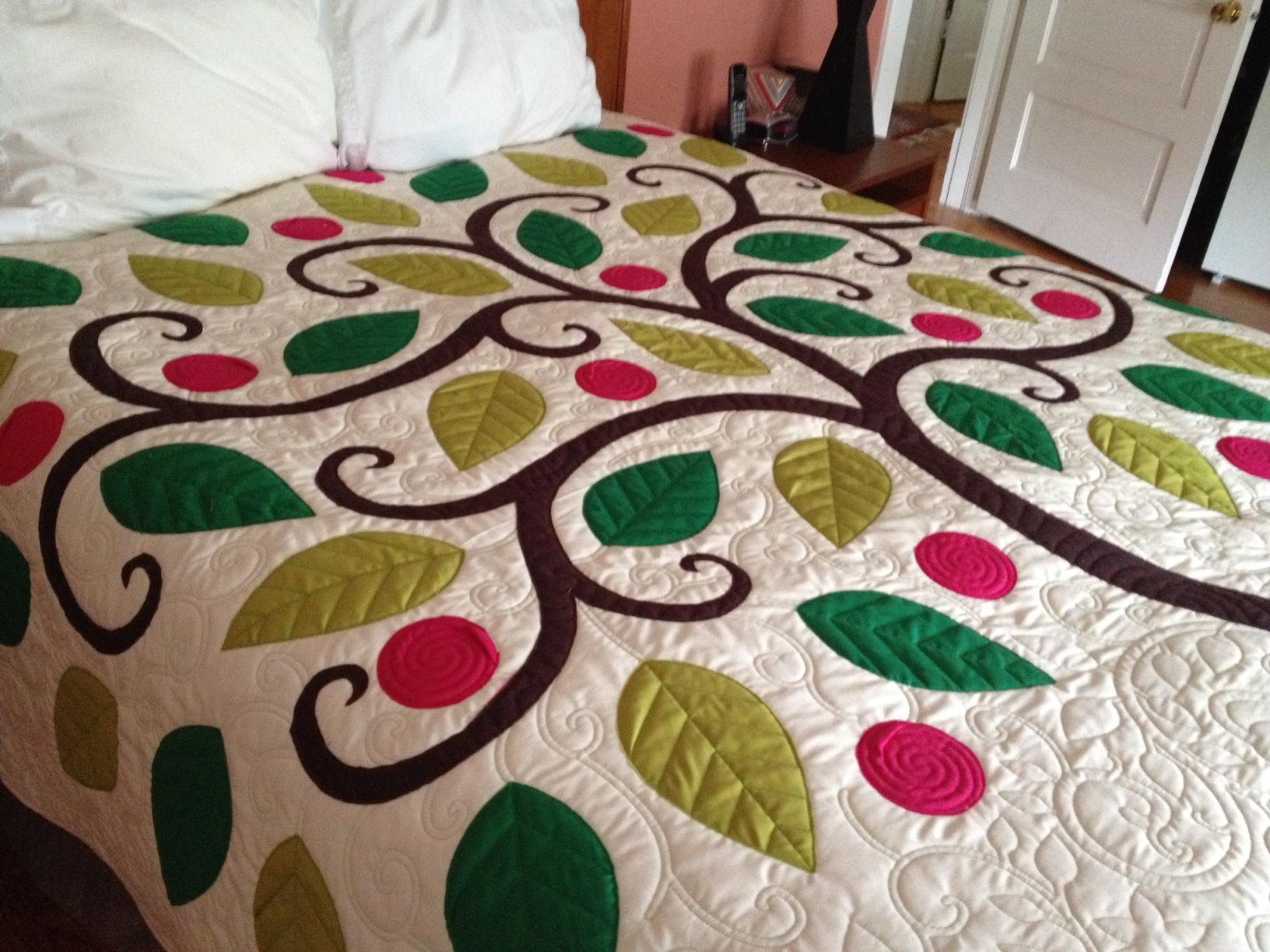 Tree Applique Quilt Â« Nina Paley's Blog : how to do applique on quilts - Adamdwight.com