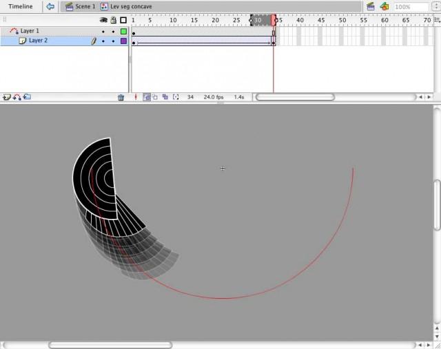 2. Segment tweened on a semi-circular path, concave