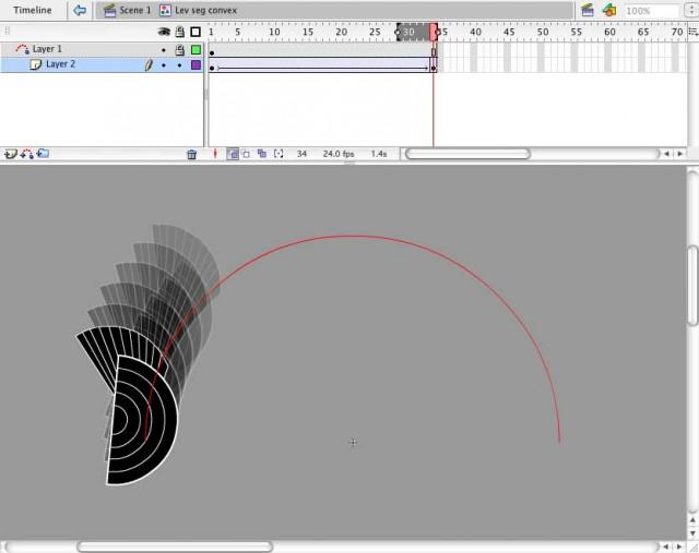 3. Segment tweened on a semi-circular path, convex