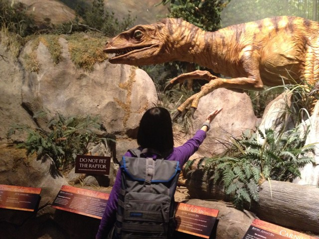 Deanna pets the raptor.