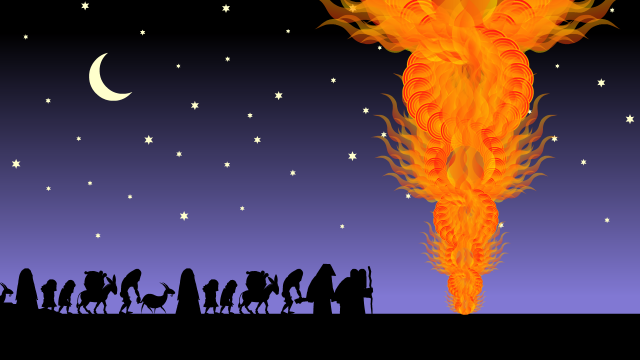 Exhausted Hebrews wander the desert, led by MOses, Aharon, and a Pillar of Fire