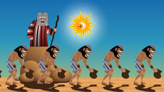 Thirsty Hebrews charged on by increasingly frustrated Moses