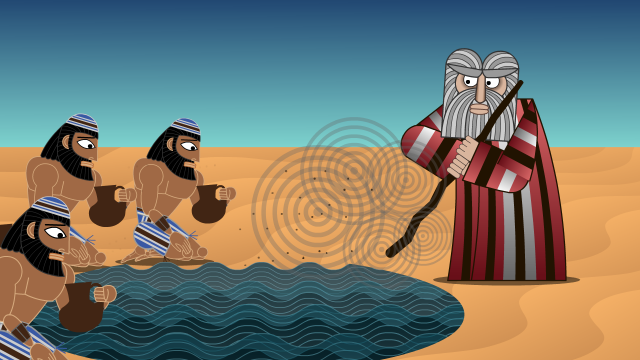 Moses strews calf dust