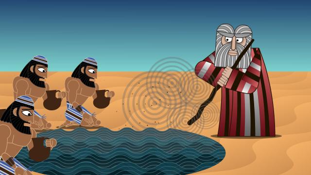 Moses strews calf dust