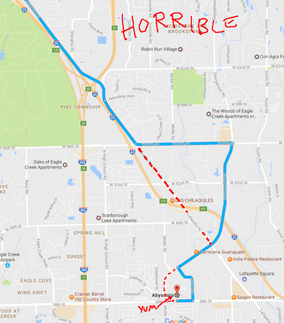 The blue route is from Google maps, which I forgot to conform here to the route I actually took (red dotted line).