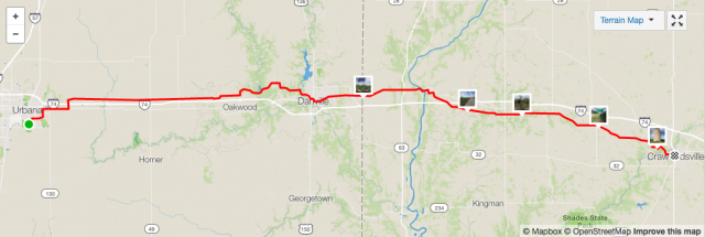 My route, according to Strava (which used up all my high speed bandwidth for this billing cycle).