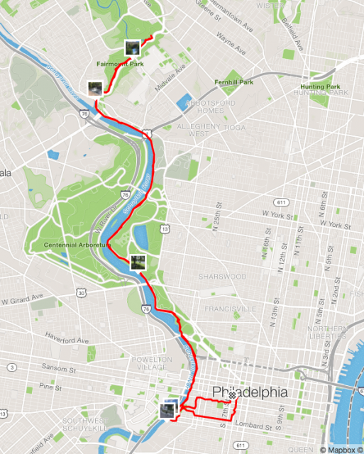 My route, according to Strava. The only badpart was getting to and from the train through congested downtown Philadelphia.