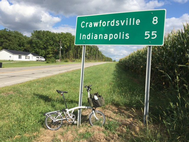 Just 8 miles to Crawfordsville! Except it was more like 10 for me, since Google Map's depiction of Old Waynetown Road didn't match reality and I took a few wrong ways.