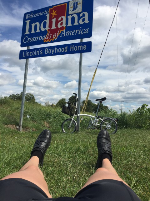 The Indiana State Line, where I laid down to stretch my back, since I was already in a ditch to get this photo.