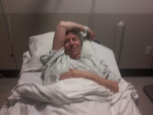 Before the surgery. Phone picture is blurry, but my head still wasn't. I just wanted to get on with it already!