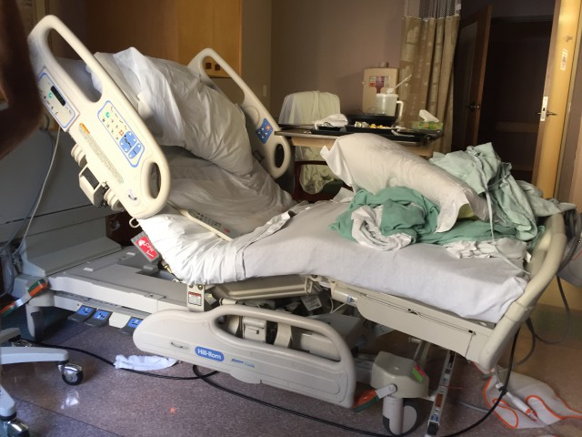 I ended up staying 2 nights at the hospital. We'd only planned for one, but I wasn't stable enough to go home the day after surgery. Here's my bed right after I was discharged Friday morning.